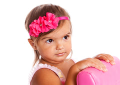 Mia® Baby Chiffon Flower Headband - #EllaOnBeauty modeling hot pink headband and hot pink flowers - invented by #MiaKaminski #MiaBeauty #Mia #Beauty #Baby #hair #hairaccessories #hairclips #hairbarrettes #love #life #girl #woman