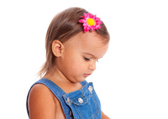 Mia® Baby Daisy Flower Barrette - hot pink color - modeled by #EllaOnBeauty #ellaKaminski- by #MiaKaminski #Mia #MiaBeauty #beauty #hair #HairAccessories #baby #girlhairaccessories #hairclips #hairbarrettes #barrette #lovethis #love #life #woman