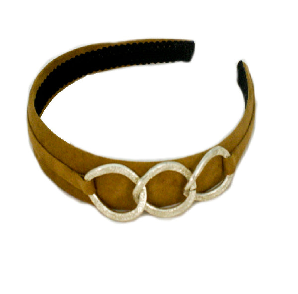 Suede Headband with Chain - Camel