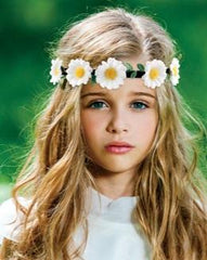 Mia® Beauty Flashion Flowers - LED lighted headband - white daisies shown on model during the day in a park