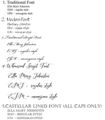 Fonts offered for engraving at MiaBeauty.com