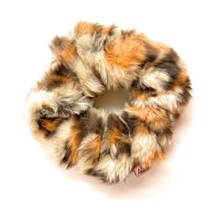 Mia Beauty Furry Scrunchie Ponytail holder hair accessory beige and brown leopard color