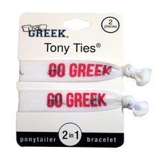 LiveGreek® Tony Ties® - Go Geek knotted ribbon hair ties for Sororities - designed by #MiaKaminski of Mia Beauty
