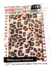 Mia Beauty Multipurpose Headband face mask neck scarf beanie cap ponytail holder headscarf tube top skirt in leopard print in zippered storage pouch packaging
