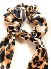 Mia Beauty Scrunchie with hanging ties leopard print