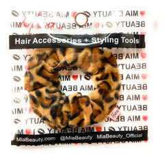 Mia Beauty Microfiber Wet Scrunchie leopard print shown in packaging