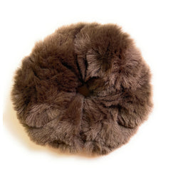 Mia Beauty Furry Scrunchie Ponytail holder hair accessory brown color