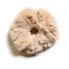 Mia Beauty Furry Scrunchie Ponytail holder hair accessory tan color