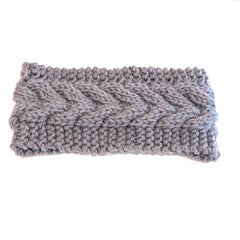 Mia Beauty Cable Knit Headband Headwrap hiar accessory in charcoal gray color