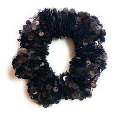 Mia Beauty Sequins Scrunchie ponytail holder hair accessory in black color