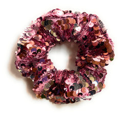 Mia Beauty Sequins Scrunchie ponytail holder hair accessory in pink color