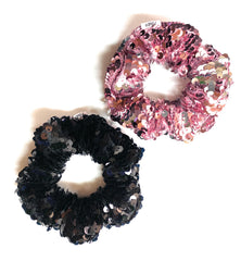 Mia Beauty Sequins Scrunchie ponytail holder hair accessory in black and pink  colors
