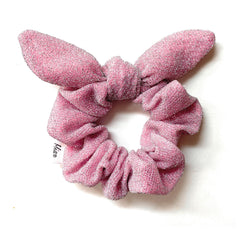 Mia Beauty Metallic Scrunchie with tie pink and silver color