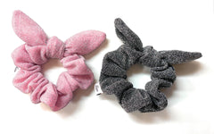 Mia Beauty Metallic Scrunchie with tie black and silver color with pink and silver