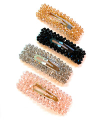 Mia Beauty Snip Snaps in rectangle shape with beads in pink, gray, black and gold  colors