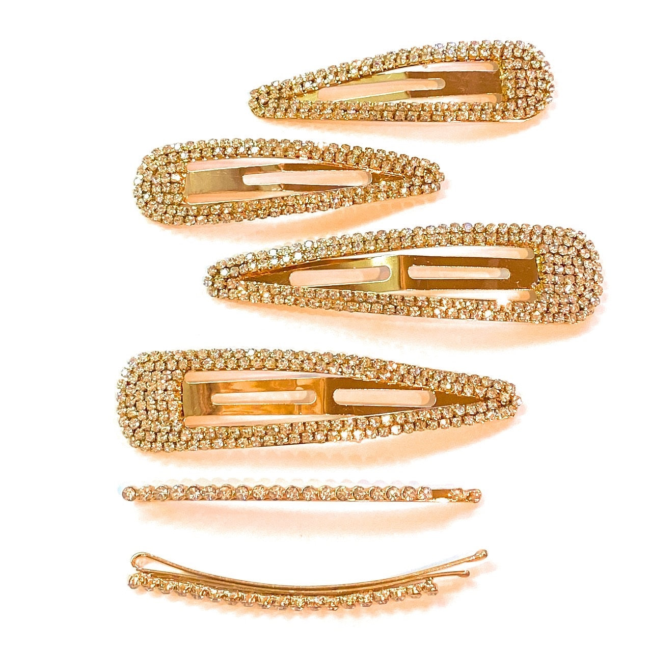 Clear Stones Details about  /Mia Beauty Large Rhinestone Snip Snaps Barrettes Hair Clips Gold