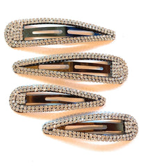 Mia Beauty Medium Size Rhinestone Snip Snaps in gunmetal and clear stones shown next to the large size