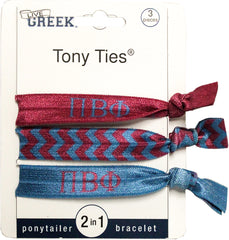 LiveGreek® Tony Ties® - Pi Beta Phi knotted ribbon hair ties for Sororities - designed by #MiaKaminski of Mia Beauty