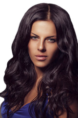 Mia® Clip-n-Hair® dark brown color on model - #MiaKaminski