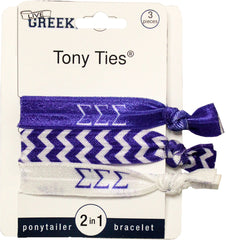 LiveGreek® Tony Ties® - Sigma Sigma Sigma knotted ribbon hair ties for Sororities - designed by #MiaKaminski of Mia Beauty