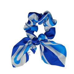 Mia Beauty Satin Scrunchie with removable tie in blue and white whimsical stripes