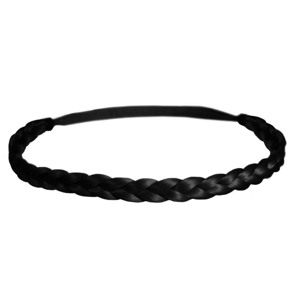 Mia® Thick Braidie® - synthetic wig hair braided headband - Black color - patented by #MiaKaminski of #MiaBeauty#Mia #Beauty #HairAccessories #Headbands #Braids #SyntheticWigHair #SyntheticHairHeadbands