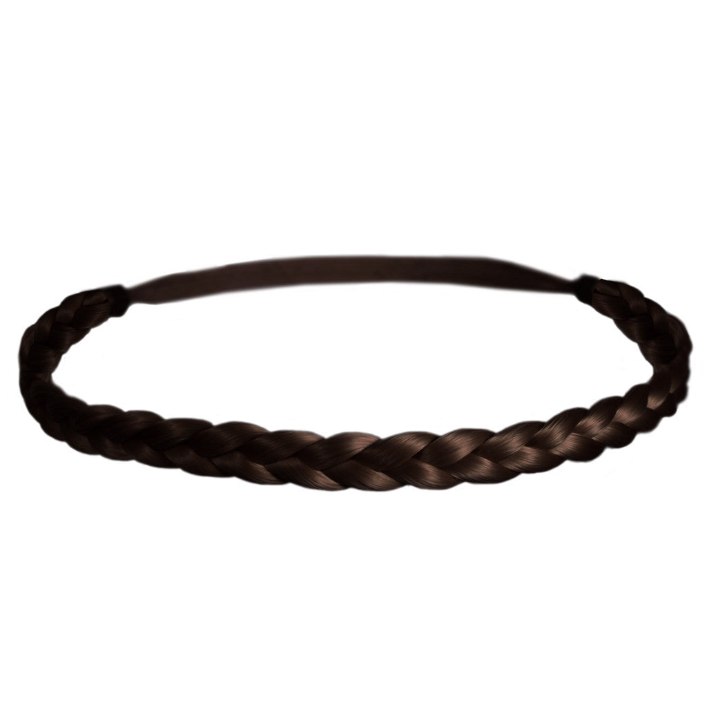 Mia® Thick Braidie® - synthetic wig hair braided headband - dark brown color - patented by #MiaKaminski of #MiaBeauty #Mia #Beauty #HairAccessories #Headbands #Braids #SyntheticWigHair #SyntheticHairHeadbands