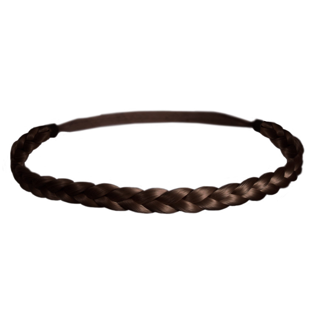 Mia® Thick Braidie® - synthetic wig hair braided headband - Medium Brown color - patented by #MiaKaminski of #MiaBeauty #Mia #Beauty #HairAccessories #Headbands #Braids #SyntheticWigHair #SyntheticHairHeadbands