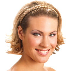 Mia® Thick Braidie® - synthetic wig hair braided headband - blonde color - shown on model - patented by #MiaKaminski of #MiaBeauty