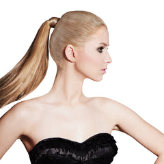 Mia® Tonytail® ponytail wrap- synthetic wig hair - blonde  - on model - patented by #MiaKaminski CEO of Mia® Beauty