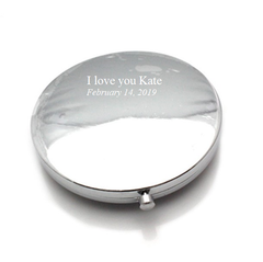 Mia® Jeweled Compact Mirror - shown closed and engraved - Mia Beauty - invented by #MiaKaminski #MiaBeauty #Mirrors #CompactMirror #TravelMirror #purseMirror #Pretty #love #mothersday #breastcancer
