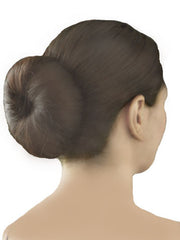 Mia® Bend-a-Bun® - brown color shown in models hair back view - manufactured by #MiaBeauty - invented by #MiaKaminski #Mia #beauty #buns #bunstylingtools #bunmaker #hotbuns