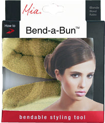 Mia® Bend-a-Bun® - blonde color - shown in packaging - manufactured by #MiaBeauty - invented by #MiaKaminski #Mia #beauty #buns #bunstylingtools #bunmaker #hotbuns