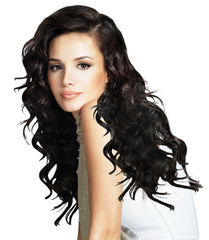 Mia® Clip-n-Hair® commitment free, instant hair, instant volume - black color - shown on model - by #MiaKaminski of Mia Beauty