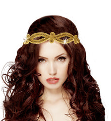Mia® Embellished Headwrap - gold swirl design - shown on model - #MiaBeauty #Mia #beauty #headbands