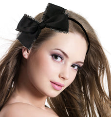 Soft Satin Headwrap With Frayed Bow - Black