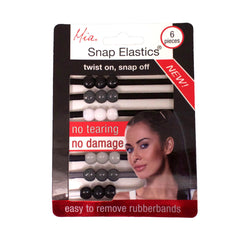 Mia® Snap Elastics® rubberbands that twist on and snap off for less damage to the hair - shown in packaging