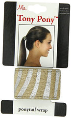 Mia®Tony Pony® - leather ponytail cuff - silver and beige - on packaging - designed by #MiaKaminski CEO of Mia® Beauty