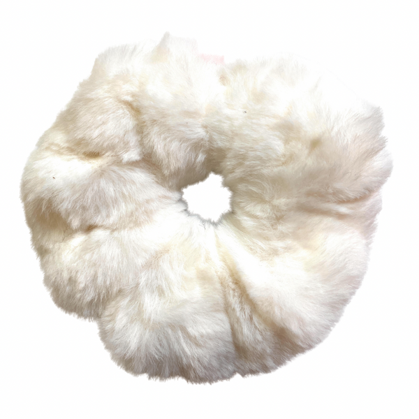 Furry Scrunchie - white