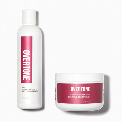 oVertone Pink for Brown Hair Coloring Conditioner and Daily Conditioner