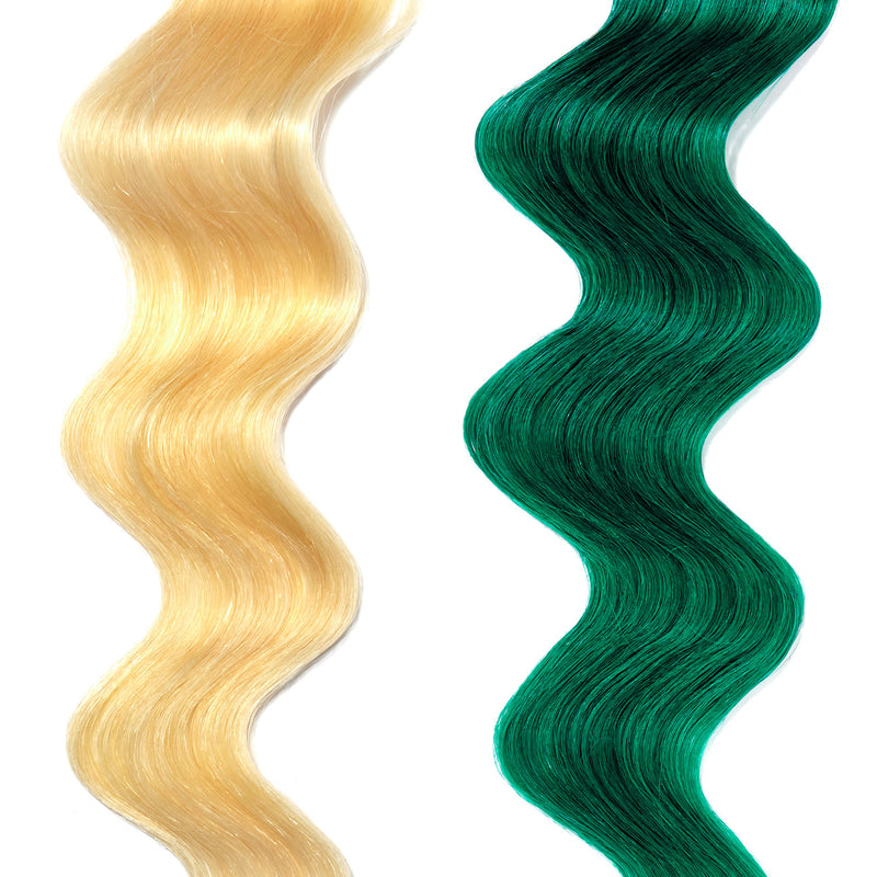 forest green hair color on platinum blonde hair