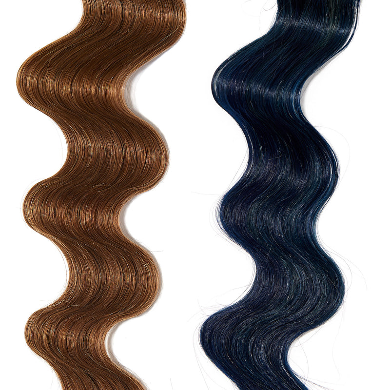 electric blue hair color on light brown hair