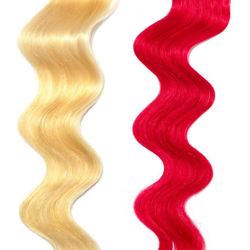 extreme pink hair color on platinum blonde hair