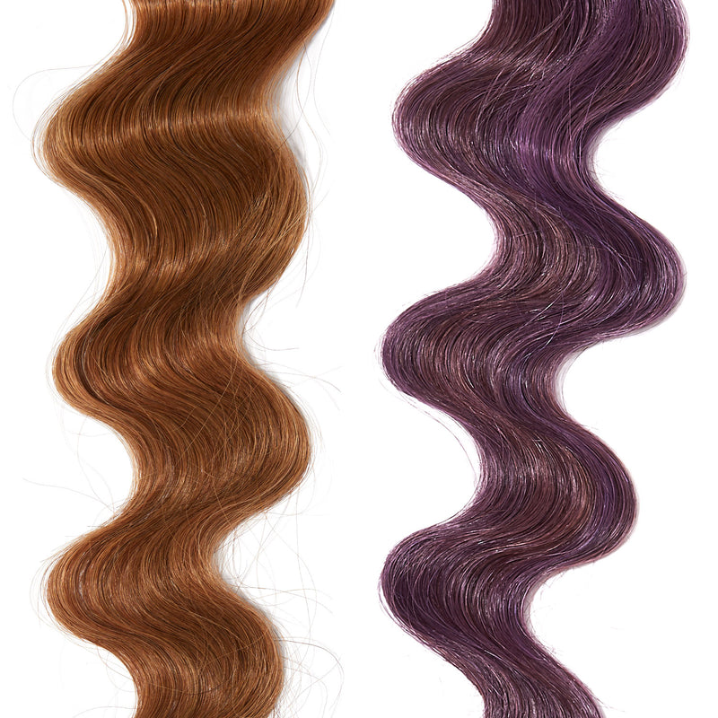 bright purple hair color on red hair