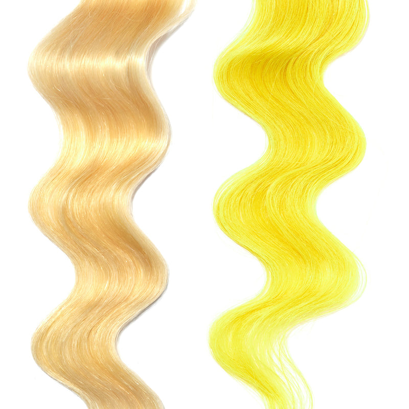 yellow gold hair color on platinum blonde hair
