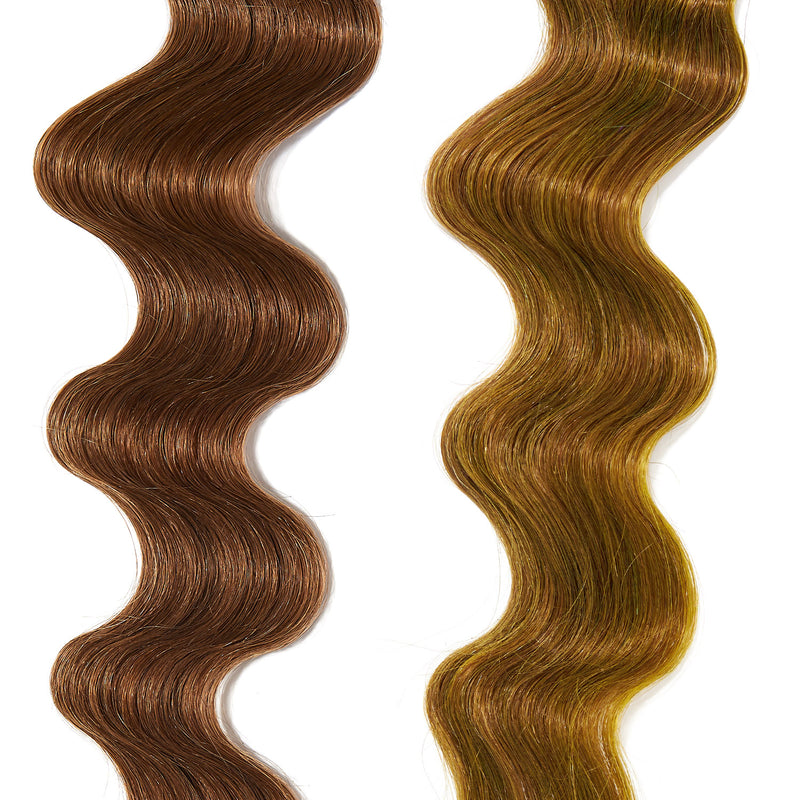 neon yellow hair color on light brown hair