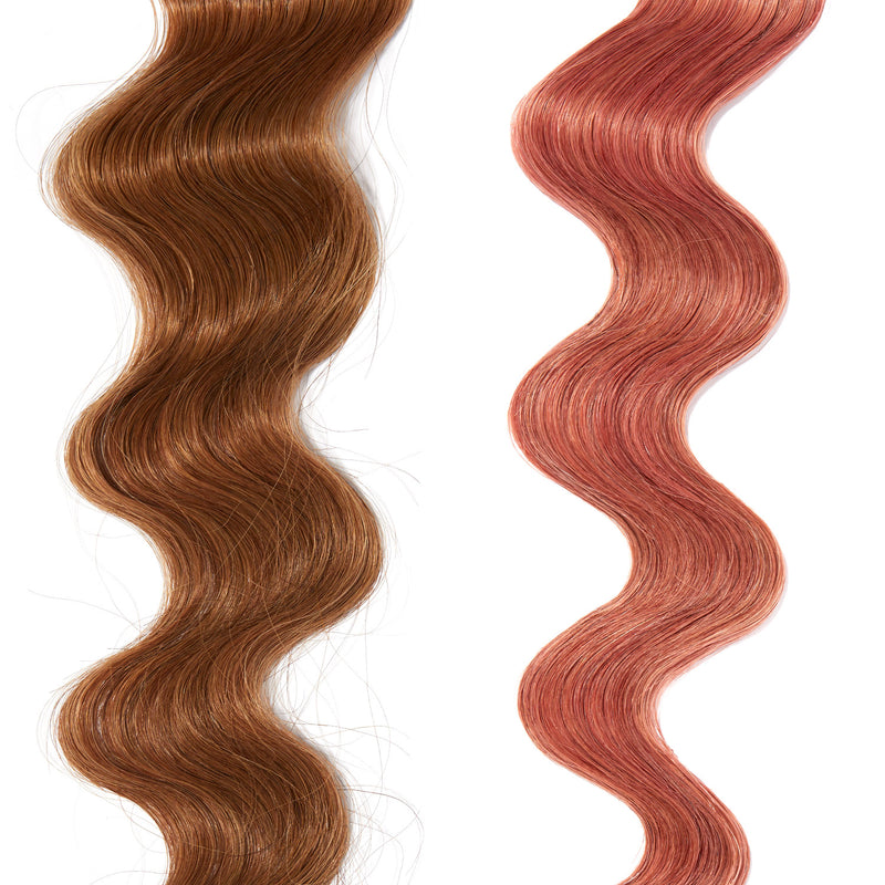 rose gold hair color on red hair