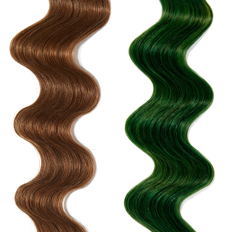 bright green hair color on light brown hair