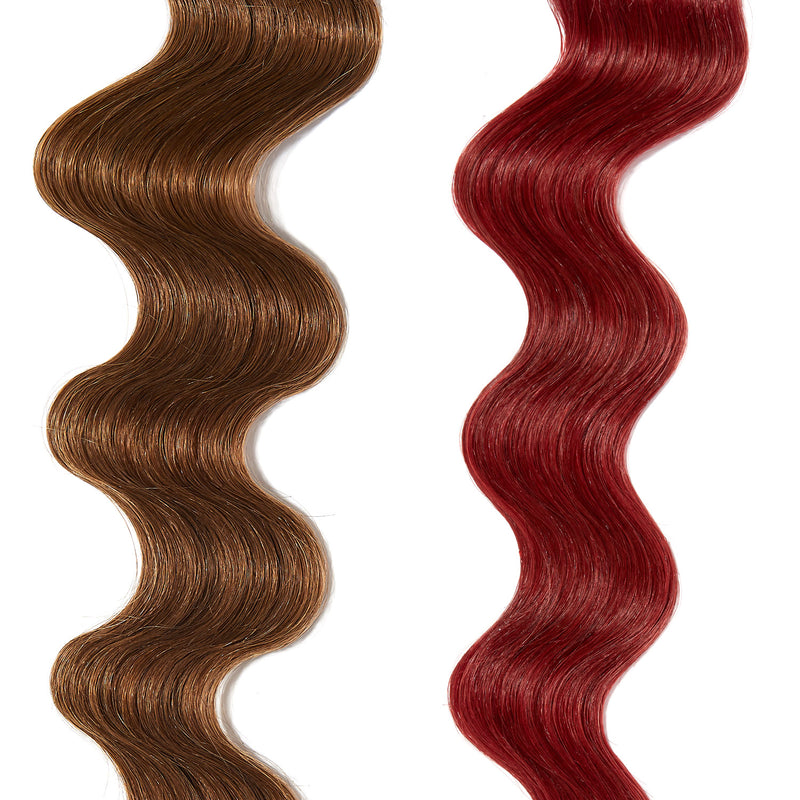 bright red hair color on light brown hair