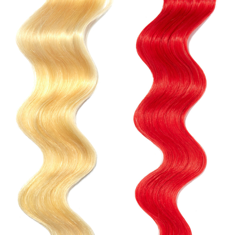 bright red hair color on platinum blonde hair